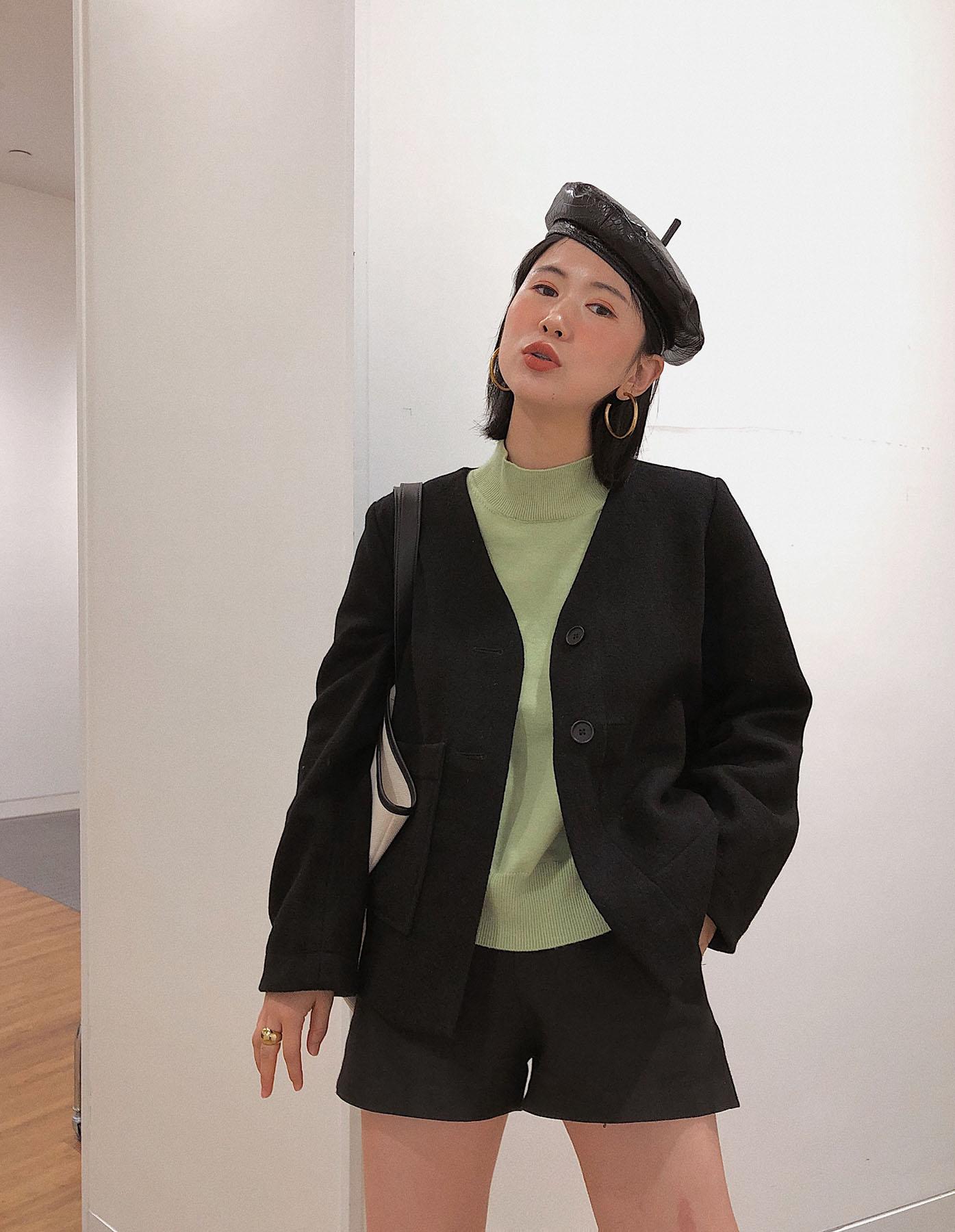 瑞典c0s黑色全羊毛毛呢短外套