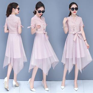 时尚收腰气质中长网纱裙子夏天潮
