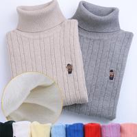 На мальчика на девочку пуловер детские высокая воротник чистый хлопок Старшие дети в свитерах трикотажный рубашка замшевый утепленный белый D4