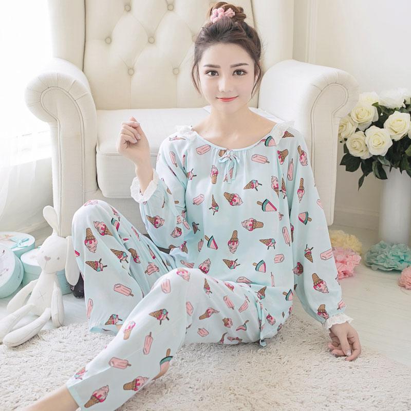 Đồ ngủ mùa hè của phụ nữ cotton dài tay cotton lụa dịch vụ nhà phù hợp với nhân tạo bông cotton lụa cộng với chất béo kích thước lớn đồ ngủ trung niên