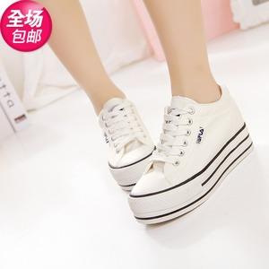 0595春款經典隱形內增高厚底學生鞋 純色系帶低幫鞋女5018