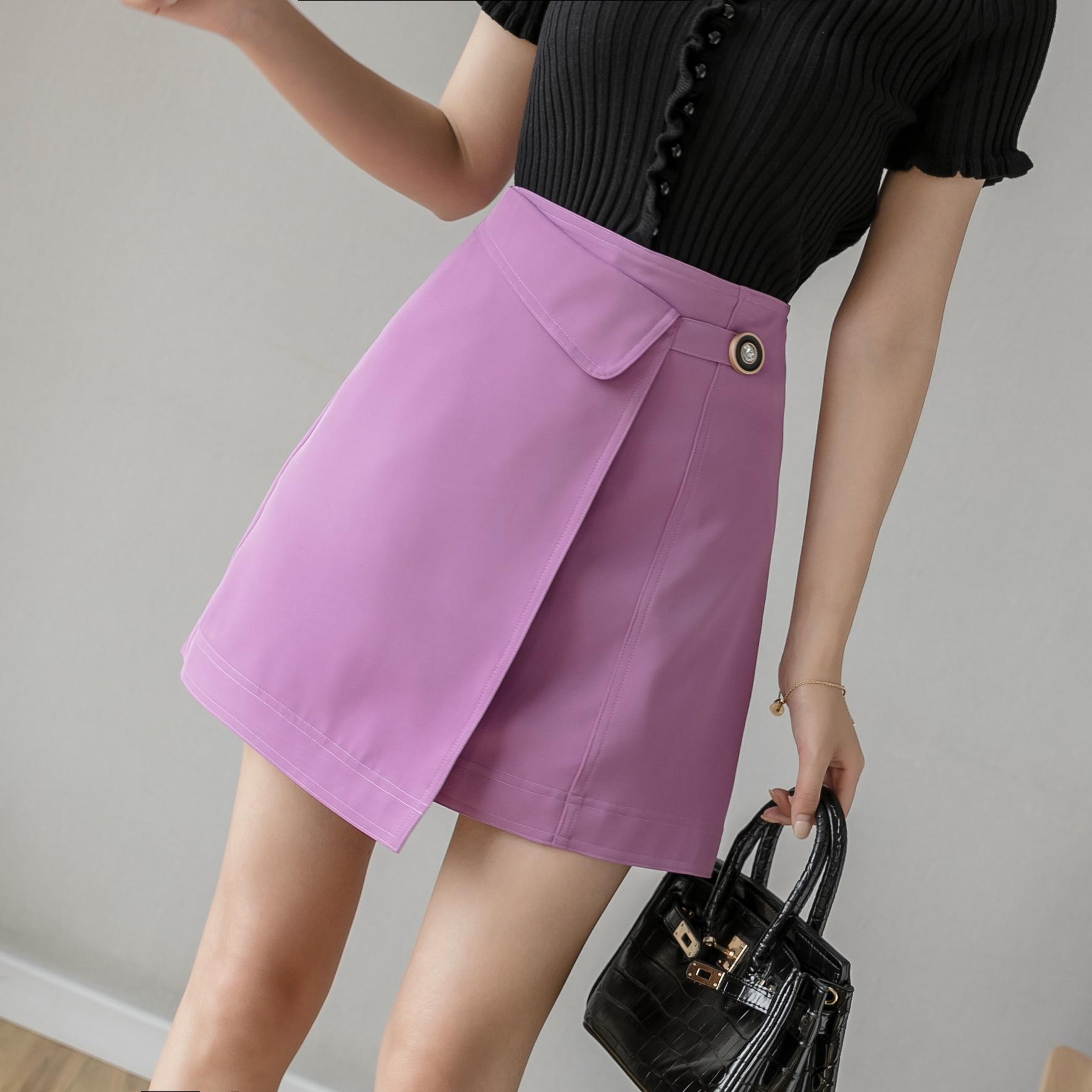 紫色a字裙不规则韩版裙子高腰显瘦半身裙包臀短裙女夏学院风ins潮