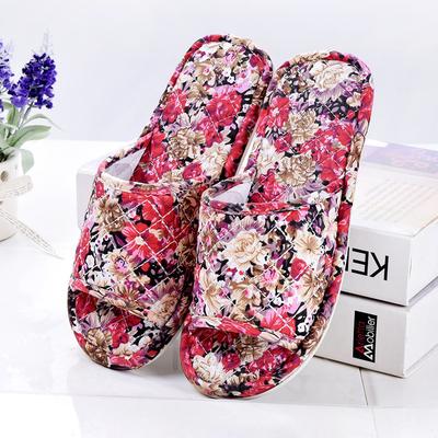夏季情侣室内静音棉布拖鞋