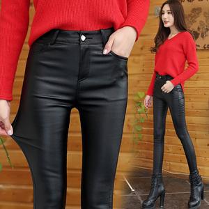 秋季女装新款加长防水皮裤女弹力显瘦加绒加厚高腰铅笔小脚裤子
