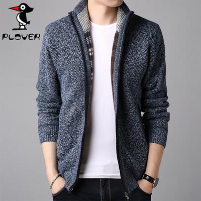【啄木鸟】加绒加厚男士开衫 冬季毛衣外套
