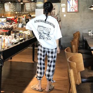 【抖音爆款】印花短袖T恤休闲裤两件套装潮