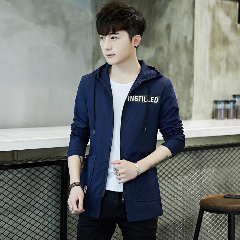 祖玛珑新秋韩版修身中长款男夹克风衣