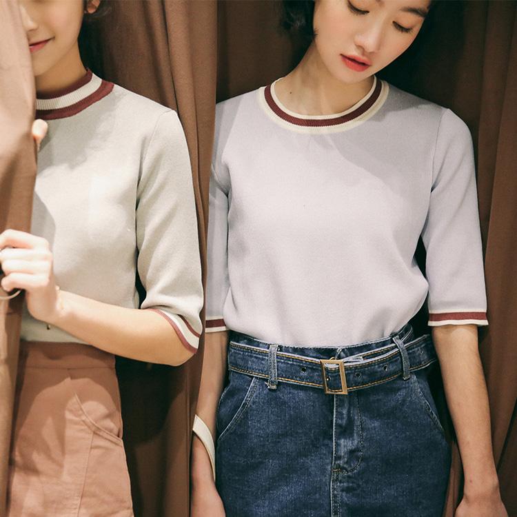 实拍春夏新款小清新显瘦chic中袖针织T恤  1074A