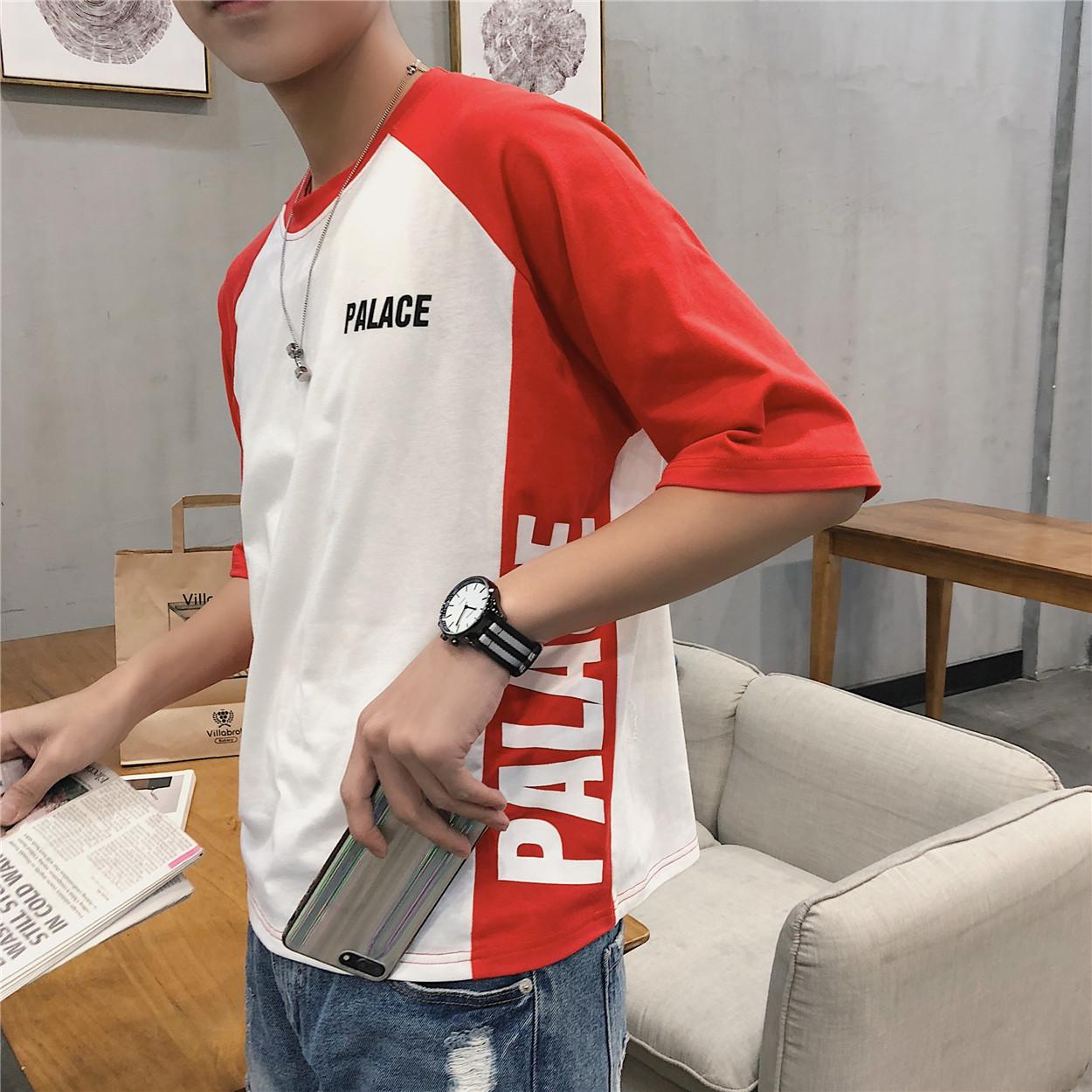 Hồng Kông phong cách văn học xu hướng màu sắc phù hợp với nam ngắn tay T-Shirt vòng cổ mùa hè lỏng lòng từ bi Hàn Quốc in nửa tay quần áo