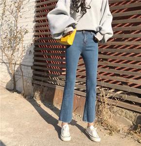 实拍实价 微喇叭裤高腰黑色九分裤韩版弹力显瘦不规则牛仔裤1547#