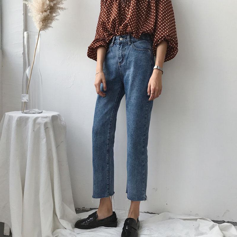 Quê hương đầu mùa thu mới phong cách Hàn Quốc cá tính rách cạnh là mỏng retro jeans nữ hoang dã nửa đàn hồi eo quần