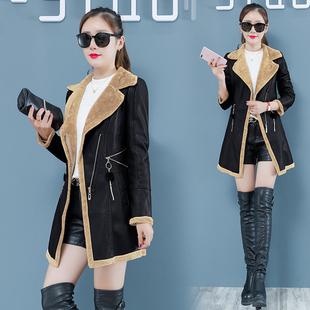 冬季皮衣女加绒加厚长款韩版