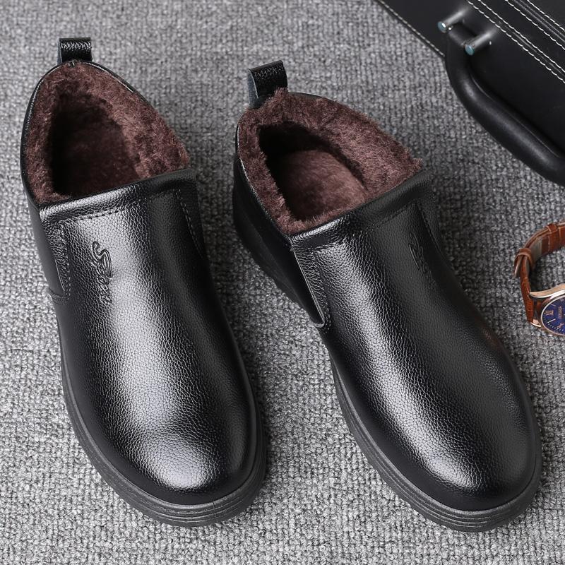 冬季新款加绒加厚保暖男棉皮中老年人休闲鞋软底防滑爸爸棉皮鞋子