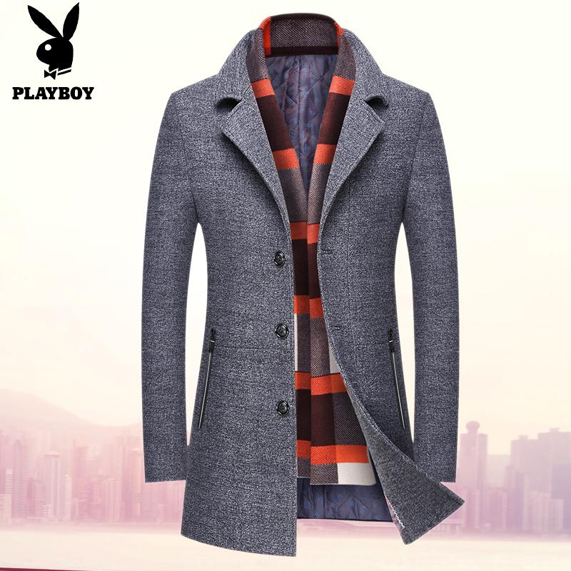花花公子毛呢大衣男士西装外套修身