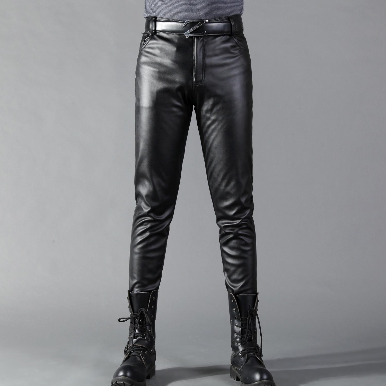 Mùa xuân và mùa hè mùa thu Hàn Quốc phiên bản của quần bó sát da quần của nam giới chân quần đàn hồi cao triều cộng với nhung thanh niên xe máy