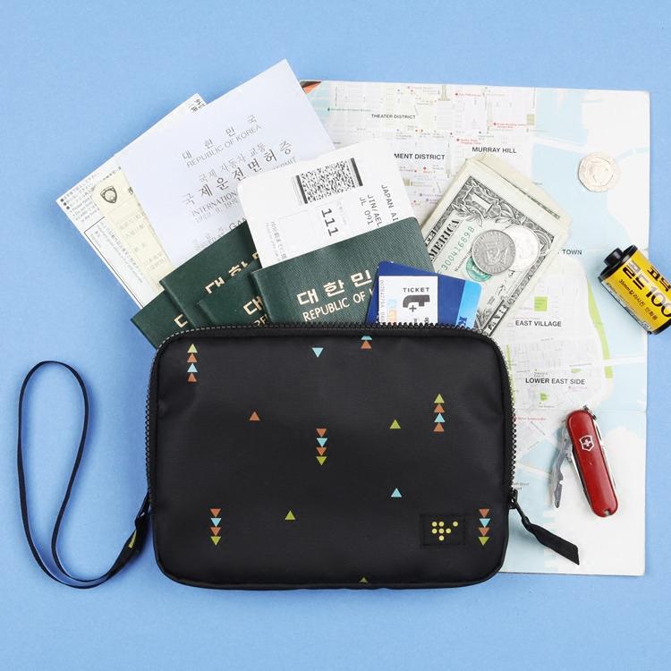 A.shop Hàn Quốc cầm tay hai lớp túi hộ chiếu ví lưu trữ kỹ thuật số túi người đàn ông và phụ nữ đi du lịch ly hợp túi giấy chứng nhận gói