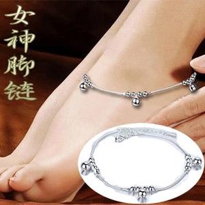 Sterling bạc vòng chân 925 nữ đơn giản sao chuông hình trái tim vòng chân tính khí nữ thần vẻ đẹp bàn chân để gửi cho bạn bè quà tặng kỳ nghỉ