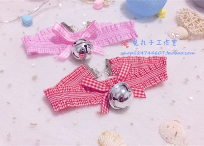 taobao agent Japanese soft cute cute maid big bell collar girl soft sister plaid elastic cloth cat girl necklace collar cos